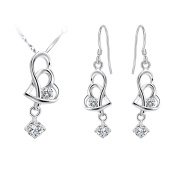 KnSam Women Platinum Plate Necklace Earrings Set Hollow Heart Dangle Crystal [Novelty Jewellery Set]