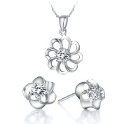 KnSam Women Platinum Plate Necklace Earrings Set Hollow Sunflower Crystal [Novelty Jewellery Set]