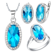 KnSam Women Platinum Plate Necklace Earring Ring Set Oval Mirror Blue Crystal [Novelty Jewellery Set]