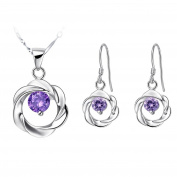 KnSam Women Platinum Plate Necklace Earrings Set Hollow Flower Purple Crystal [Novelty Jewellery Set]