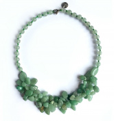 Nephrite Neferti Chain Maple Neck Silver Nephrite in Green. Beautiful Necklace made of Natural Stone Necklace/Choker/Gem. Handcrafted Gemstone Jewellery.
