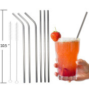 Stainless Steel Straws, PEMOTech® 18/8 Stainless Steel Reusable 27cm Extra Long Drinking Straws Set (3 Straight and 3 Bend) - 6 Straws for 20 & 890ml Yeti Tumbler Rambler Cups - with 2 Cleaning Brushes
