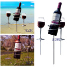 Picnic Wine Bottle Holder Stake Set (3pc) - holds wine & glasses in the ground, prevents from spilling breaking