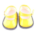 Yellow Princess Ankle Belt Shoes for 46cm American Girls Dolls