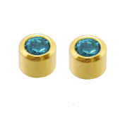 Mytoptrendz® Sterilised Hypo allergenic Stud Earrings In Gold And Silver Tone Gold tone Blue zircon crystal