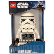 LEGO Star Wars Stormtrooper Alarm Clock LCD has a 12/24 Hour Display and a Backlight to View the Time at Night Batteries Included