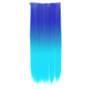 One Piece Synthetic Straight Two Tone Ombre Hairpiece Clip-on Wig Hair Extension Beauty Tool Sapphire Blue to Light Blue