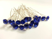 20pcs ROYAL BLUE - 8mm Glass Crystal Rhinestone Diamante Wedding Bridal Prom Hair Pin