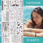 eBoot 10 Sheets Metallic Temporary Tattoos 200 Shimmer Designs
