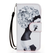 ISAKEN iPhone 5C Case, iPhone 5 Flip Case, Colourful Pattern Pu Leather Magnetic Wallet Case Pattern Print Printing Drawing Cell Phone Apple iPhone 5C Cover Mobile Cover Protect Skin Case with Stand Function - girl flower