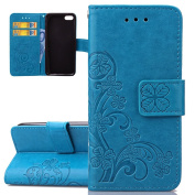 iPhone 5C Case, iPhone 5C Cover, ISAKEN Embossed Flower Pattern Design in Solid Colour, Creative PU Leather Case Credit Card Slot Magnetic Flip Protective Stand Cover with Strap for Apple iPhone 5C - Flower