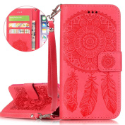 iPhone 6 Plus Case, iPhone 6S Plus Case, ISAKEN iPhone 6 Plus Flip Cover in Solid Colour Dreamcatcher Pattern Design PU Leather Case Credit Card Slot Magnetic Flip Protective Stand Case Cover with Strap for Apple iPhone 6 14cm - Dreamcatcher