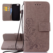 iPhone 6 Plus Case, iPhone 6S Plus Cover, ISAKEN Embossed Flower Pattern Design in Solid Colour, Creative PU Leather Case Credit Card Slot Magnetic Flip Protective Stand Cover with Strap for Apple iphone 6 14cm - Flower