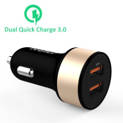 [Qualcomm Certified] Dual Quick Charge 3.0 Car Charger, iVoler® 36W Dual Rapid Ports USB Car Charger with QC3.0 & Qsmart Adaptive Fast Charging Technology [QC 2.0 & USB Type C Compatible] for for for for for for for for for for for Samsung