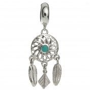 Sterling Silver Enamel Dream Catcher Flower Feather European Style Dangle Bead Charm