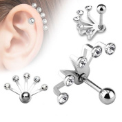 Unusual 5 Crystal Hanging Fan Surgical Steel Upper ear cartilage tragus Helix earring Other Styles Available in our Pegasus Body Jewellery Amazon Shop