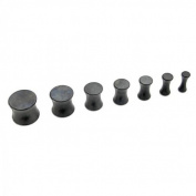 Set Double Flared Flesh Tunnel Plug Piercing Black 2 3 4 5 6 8 10 mm