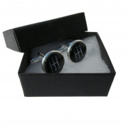 Handmade Black Gear Stick - Car Themed - Silver Plated Cufflinks - Gift Boxed