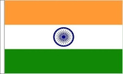 """India Sleeved Flag suitable for Boats 45cm x 30cm (18"""" x12"""") + 59mm Button Badge"""