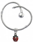 Pandora compatable bracelet with lady bird charm by Avantgarde Jewels . Silver plated - available in many sizes 18 to 22 CMs