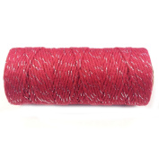 AllyDrew Cotton Baker's Twine 12ply 110 Yard, Red/Metalic Silver