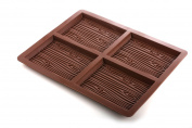 4-Cell Wood Grain Effect / Pattern Silicone Chocolate Bar Mould Pan Tin