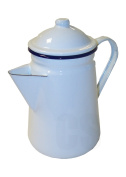 FALCON WHITE ENAMEL TALL COFFEE POT WITH HANDLE & LID 1.5L - CAMPING