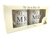 50th Golden Wedding Anniversary Gift - Pair Of Mugs