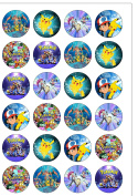 24 Precut 40mm Round Pokemon Edible Wafer Paper Cake Toppers