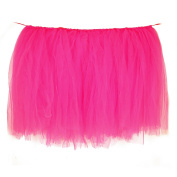 Vlovelife 100cm X 80cm Deep Pink Tulle Table Skirt Tutu Tableware Wedding Party Baby Shower Decorations Handmade Favour Customised Size Available