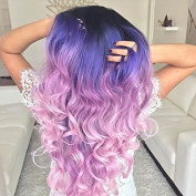 kylie Jenner synthetic lace front wig with heat resistant fibre for women ombre black to purple pink body wave dark root wig