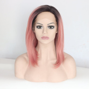 Ebingoo Pink Lace Front Wig Straight Short Bob Black Roots Hair Heat Resistant Synthetic Fibre Full Wigs Hair for Women