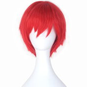 Miss U Hair New Short Straight Red Colour Party Hair Cosplay Costume Wig for Men