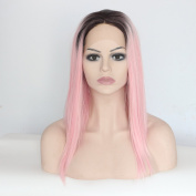 Ebingoo Pink Lace Front Wig Long Straight Hair Ombre Dark Roots Heat Resistant Synthetic Fibre Wavy Full Wigs for Women