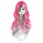 DAYISS Women's Long Curly Wavy Full Wig Glamour Cosplay Heat Resistant Pink Blue