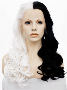 Imstyle® Long Body Wavy Half White Half Black Cosplay Synthetic Lace Front Wig