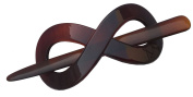 Parcelona French Infinity Brown Shell Bun Cover Pin Thru Barrette Clip with Stick