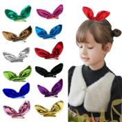FEITONG 12PCS Big Bow Knot Children Girl Barrettes Rabbit Ear Hairband Hairpin