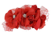 Bridal - Bridesmaid Weddign Party Red Flower with Crystals Hair Comb Pin
