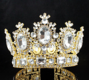JANEFASHIONS 10cm BEAUTY QUEEN CRYSTAL RHINESTONE LARGE TIARA CROWN PAGEANT T2131G GOLD