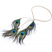 Lureme® Bohemia Style Long Peacock Feather with Wood Bead Headband for Women