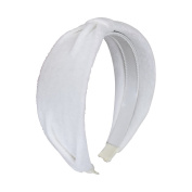 Solid Velvet Gathered Headband - White