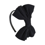 Black Large Wool Pleated Bow Head Band - DaCee Designs
