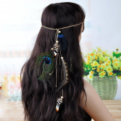 Lureme® Bohemia Style Black Feather and Peacock Feather Weave Chain Headband for Women