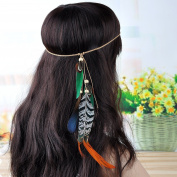 Lureme® Bohemia Style Green Feather and Pheasant Feather Weave Chain Headband for Women