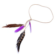 Lureme® Bohemia Style purple Feather and Pheasant Feather with Wood Bead Headband for Women