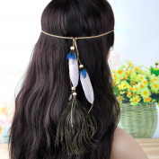 Lureme® Boho Style New Peacock Feather Hippie Hair Extension Headband for Women
