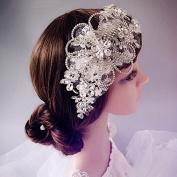 Silver Rhienstone Floral Lace Headband Tiara Belt French Net Bridal Wedding