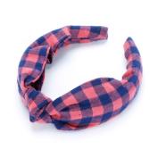 Girls Top Knot Cheque Pattern Headband - Creamy Pink