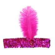 Gilroy Women's Costume Sequined Flapper Headband with Feather Plume